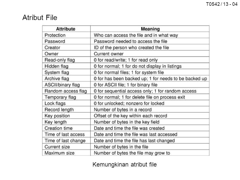 T0542 / 13 - 04 Atribut File Kemungkinan atribut file