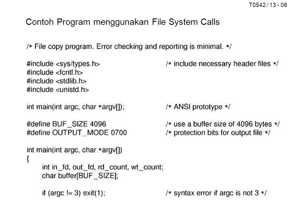 T0542 / 13 - 017 (a) Sebelum linking (b) Setelah linking (c) Setelah pemilik file tidak menggunakan file tersebut Contoh Sistem File/Direktori Entri Sistem File CD-ROM