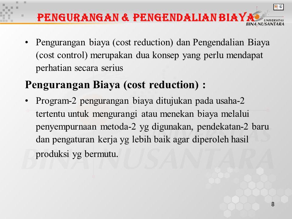 9 Pengendalian Biaya (cost control) : Dalam arti luas cost control meliputi pengurangan biaya.