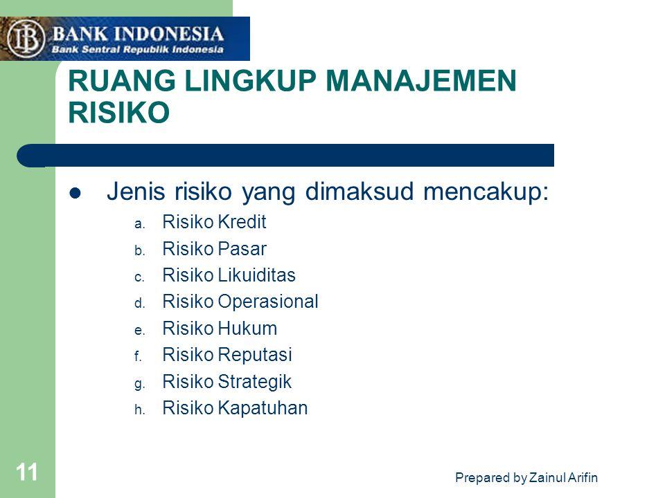 Prepared by Zainul Arifin 11 RUANG LINGKUP MANAJEMEN RISIKO Jenis risiko yang dimaksud mencakup: a. Risiko Kredit b. Risiko Pasar c. Risiko Likuiditas