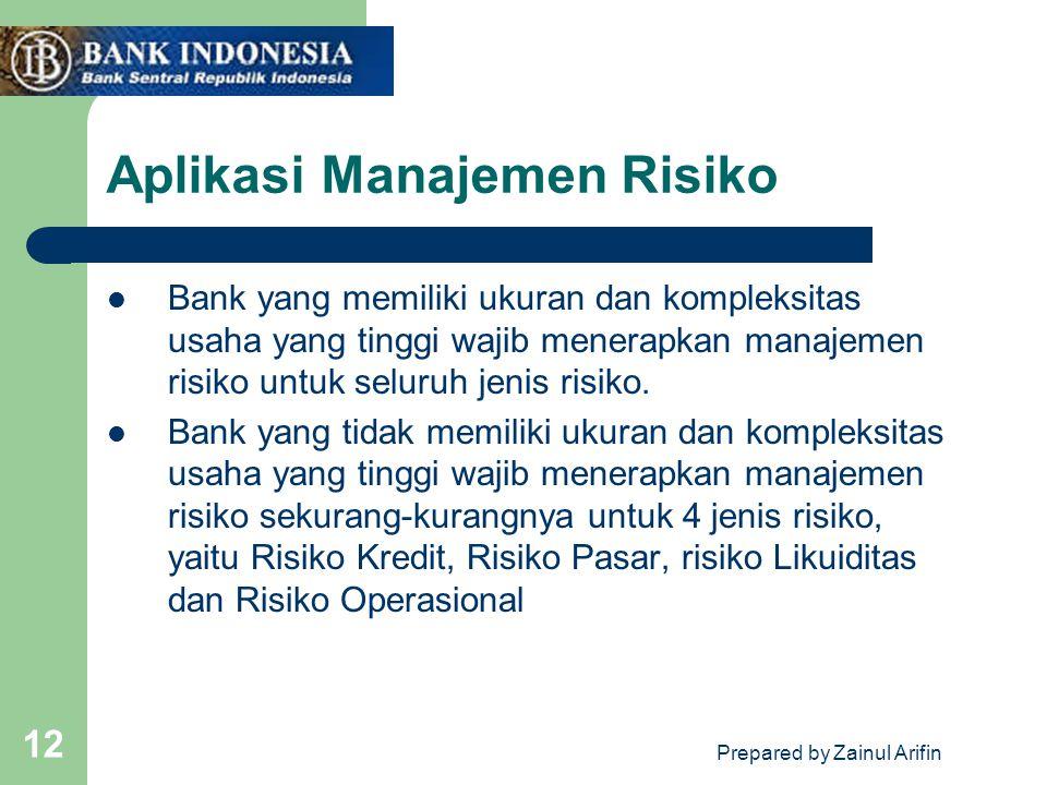 Prepared by Zainul Arifin 12 Aplikasi Manajemen Risiko Bank yang memiliki ukuran dan kompleksitas usaha yang tinggi wajib menerapkan manajemen risiko untuk seluruh jenis risiko.
