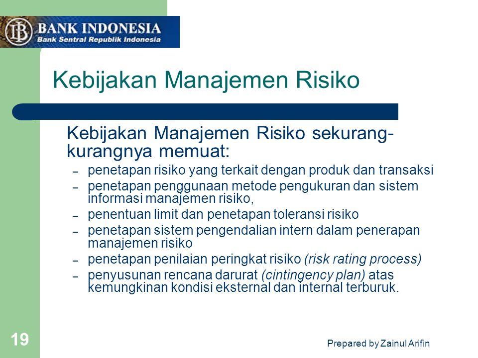 Prepared by Zainul Arifin 19 Kebijakan Manajemen Risiko Kebijakan Manajemen Risiko sekurang- kurangnya memuat: – penetapan risiko yang terkait dengan
