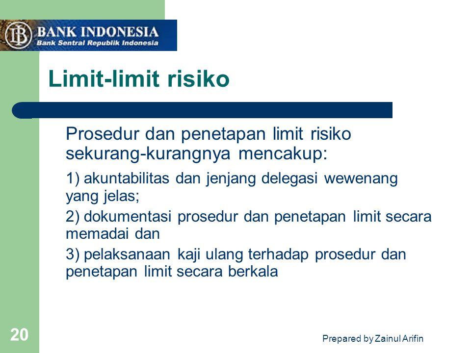 Prepared by Zainul Arifin 20 Limit-limit risiko Prosedur dan penetapan limit risiko sekurang-kurangnya mencakup: 1) akuntabilitas dan jenjang delegasi