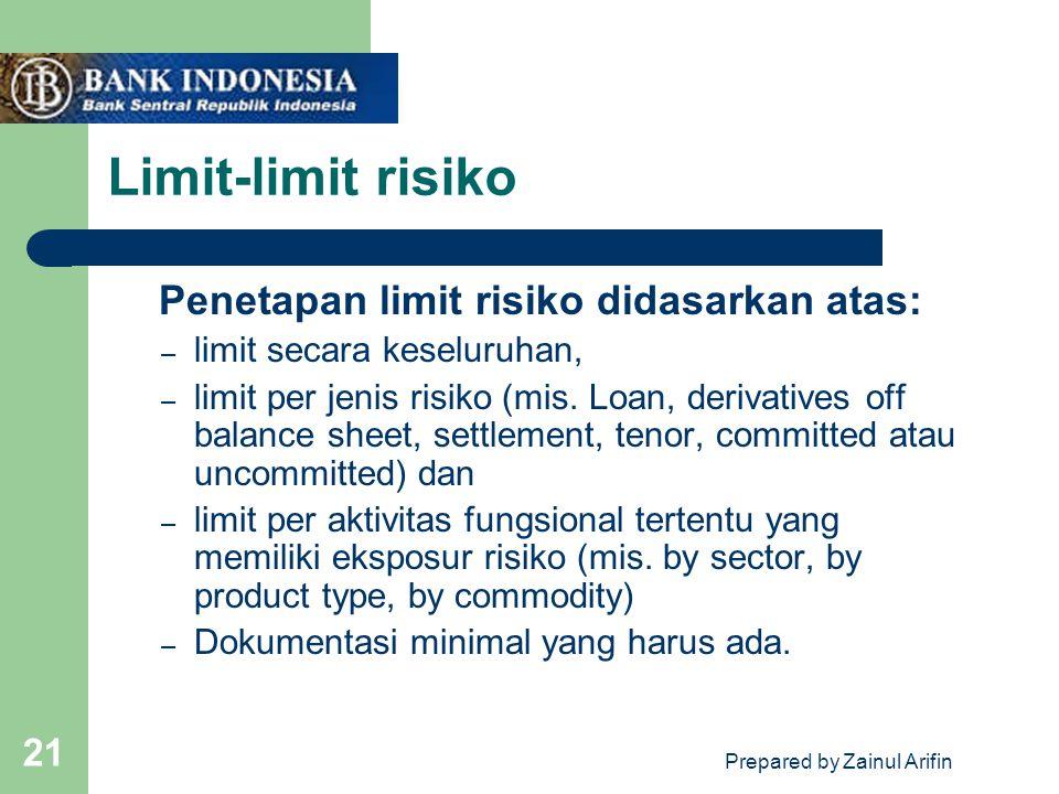 Prepared by Zainul Arifin 21 Limit-limit risiko Penetapan limit risiko didasarkan atas: – limit secara keseluruhan, – limit per jenis risiko (mis. Loa