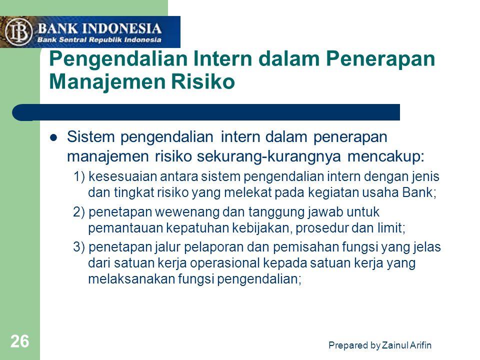 Prepared by Zainul Arifin 26 Pengendalian Intern dalam Penerapan Manajemen Risiko Sistem pengendalian intern dalam penerapan manajemen risiko sekurang