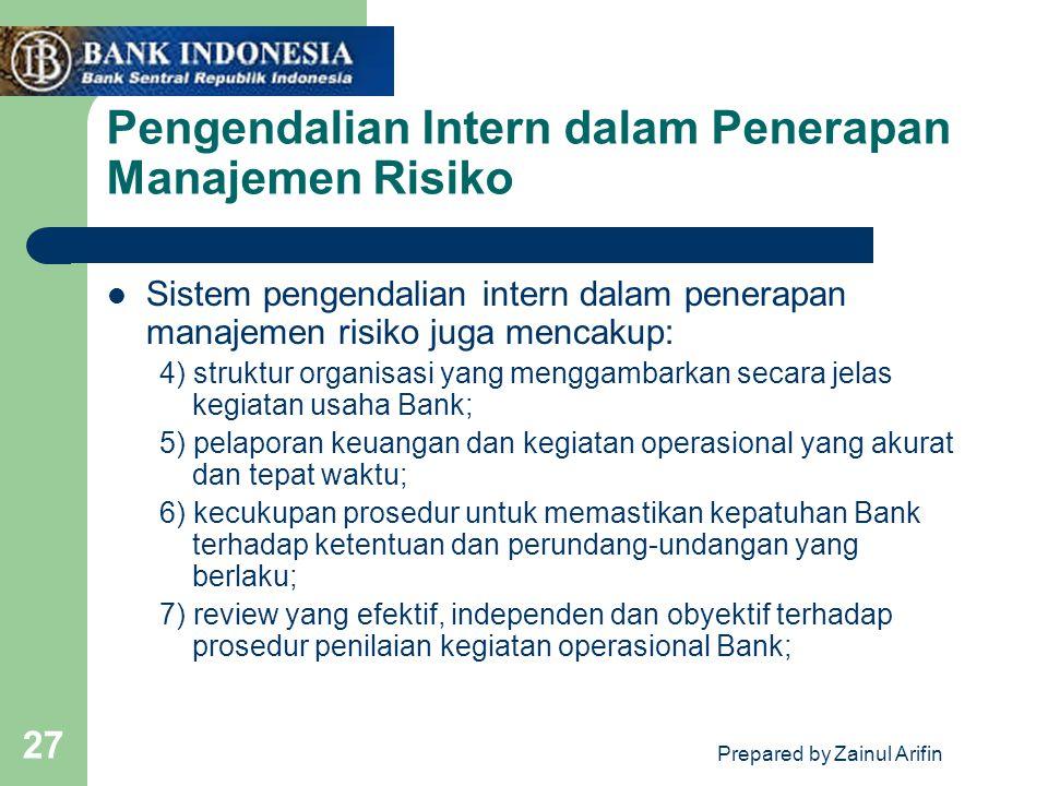 Prepared by Zainul Arifin 27 Pengendalian Intern dalam Penerapan Manajemen Risiko Sistem pengendalian intern dalam penerapan manajemen risiko juga men