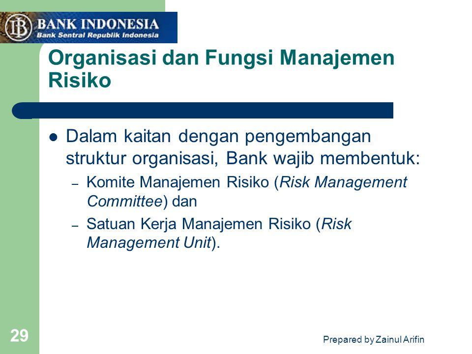 Prepared by Zainul Arifin 29 Organisasi dan Fungsi Manajemen Risiko Dalam kaitan dengan pengembangan struktur organisasi, Bank wajib membentuk: – Komite Manajemen Risiko (Risk Management Committee) dan – Satuan Kerja Manajemen Risiko (Risk Management Unit).