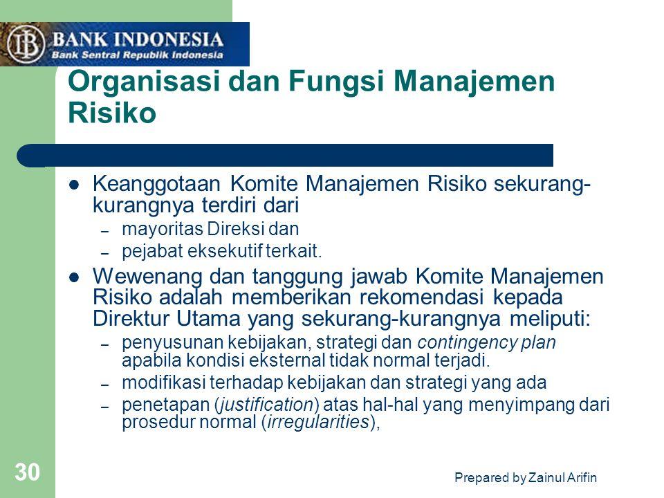 Prepared by Zainul Arifin 30 Organisasi dan Fungsi Manajemen Risiko Keanggotaan Komite Manajemen Risiko sekurang- kurangnya terdiri dari – mayoritas Direksi dan – pejabat eksekutif terkait.