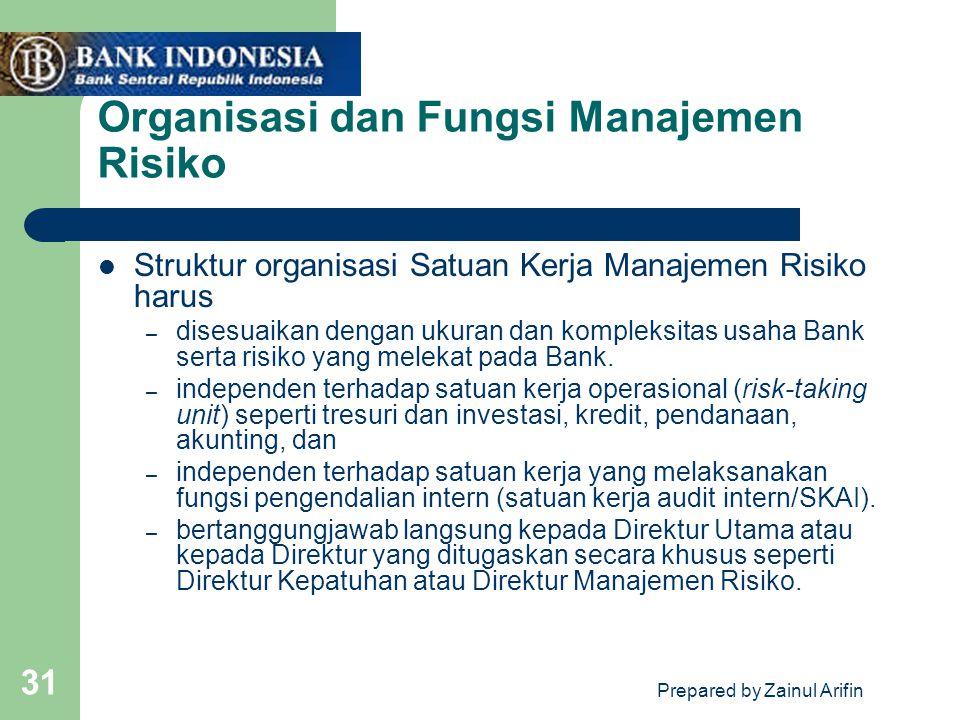 Prepared by Zainul Arifin 31 Organisasi dan Fungsi Manajemen Risiko Struktur organisasi Satuan Kerja Manajemen Risiko harus – disesuaikan dengan ukura