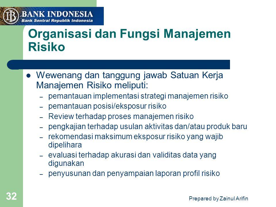 Prepared by Zainul Arifin 32 Organisasi dan Fungsi Manajemen Risiko Wewenang dan tanggung jawab Satuan Kerja Manajemen Risiko meliputi: – pemantauan i