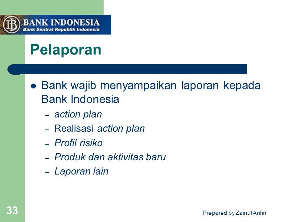 Prepared by Zainul Arifin 33 Pelaporan Bank wajib menyampaikan laporan kepada Bank Indonesia – action plan – Realisasi action plan – Profil risiko – P