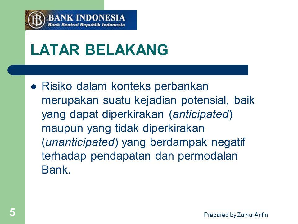 Prepared by Zainul Arifin 5 LATAR BELAKANG Risiko dalam konteks perbankan merupakan suatu kejadian potensial, baik yang dapat diperkirakan (anticipate