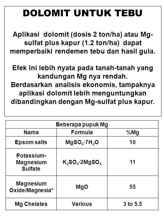 DOLOMIT UNTUK TEBU Aplikasi dolomit (dosis 2 ton/ha) atau Mg- sulfat plus kapur (1.2 ton/ha) dapat memperbaiki rendemen tebu dan hasil gula. Efek ini