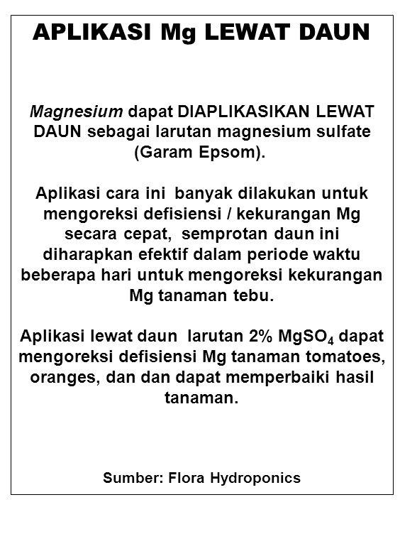 APLIKASI Mg LEWAT DAUN Magnesium dapat DIAPLIKASIKAN LEWAT DAUN sebagai larutan magnesium sulfate (Garam Epsom). Aplikasi cara ini banyak dilakukan un