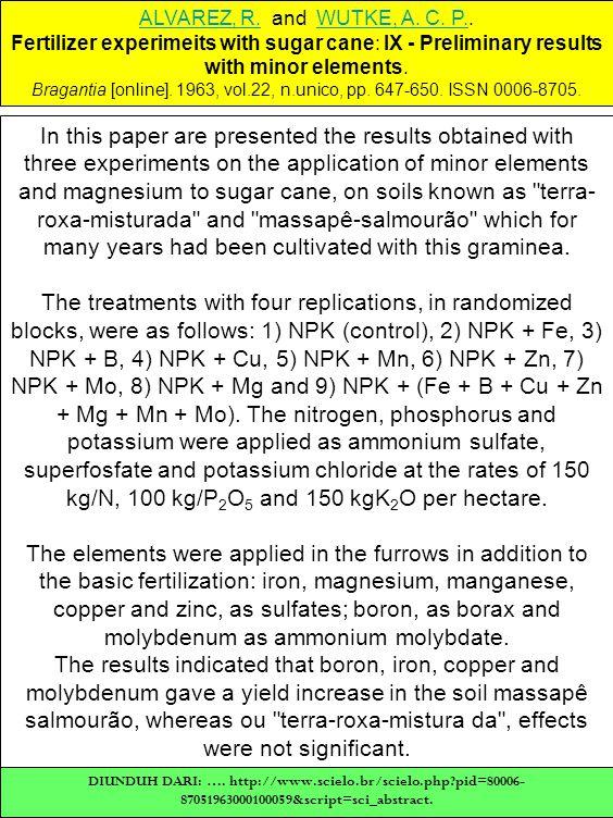 ALVAREZ, R.ALVAREZ, R. and WUTKE, A. C. P..WUTKE, A. C. P. Fertilizer experimeits with sugar cane: IX - Preliminary results with minor elements. Braga