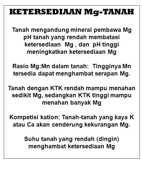 KOREKSI DEFISIENSI Mg Beberapa kriteria hasil uji tanah untuk rekomendasi aplikasi Mg adalah: (1) Kalau kandungan Mg-tukar dalam tanah kurang dari 100 pounds per acre untuk tanah-tanah mineral ; (2) if the equivalents of potassium exceed magnesium (on a weight basis, this is about 3 parts of potassium to 1 part magnesium); (3) Kalau kandungan Mg tanah (sebagai persen dari total basa) kurang dari 3% ; atau (4) if the equivalent ratio of calcium to magnesium is greater than 10.
