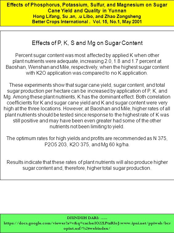 Effects of Phosphorus, Potassium, Sulfur, and Magnesium on Sugar Cane Yield and Quality in Yunnan Hong Lifang, Su.an,.u Libo, and Zhao Zongsheng Bette