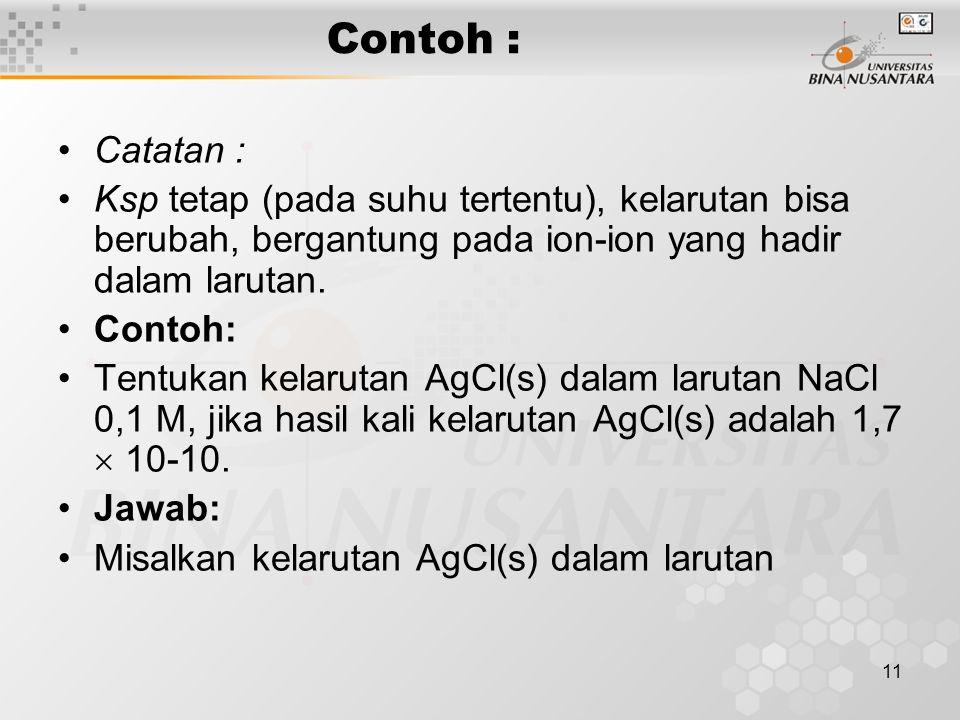 12 Jawab : Misalkan kelarutan AgCl(s) dalam larutan NaCl  Na+(aq) + Cl-(aq) -- 0,1 M 0,1 M AgCl(s) Ag+(aq) + Cl-(aq) s M s M Lihat