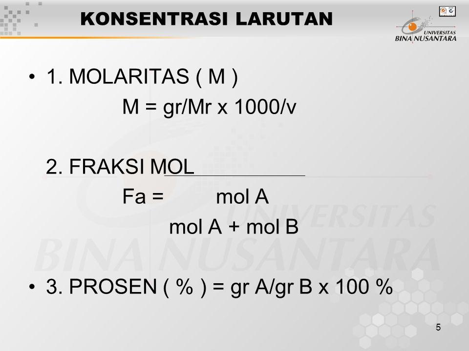 6 DERAJAT KEASAMAN ( pH ) pH = - log (H+) Asam Kuat => (H+) = n.