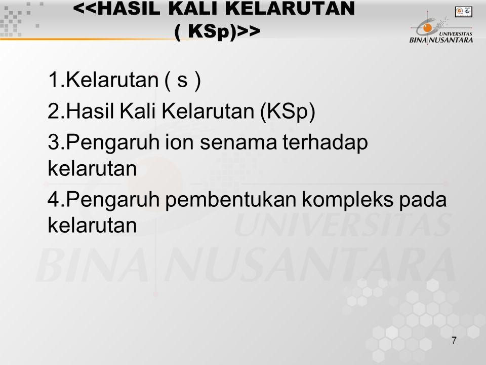 8 HASIL KALI KELARUTAN 1.