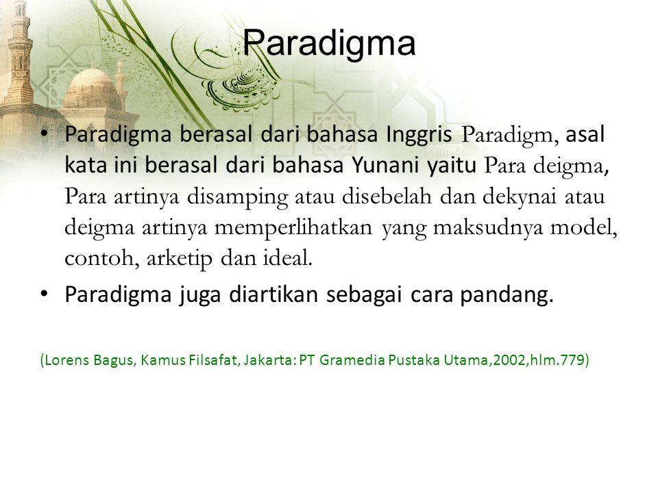 Paradigma Paradigma berasal dari bahasa Inggris Paradigm, asal kata ini berasal dari bahasa Yunani yaitu Para deigma, Para artinya disamping atau disebelah dan dekynai atau deigma artinya memperlihatkan yang maksudnya model, contoh, arketip dan ideal.