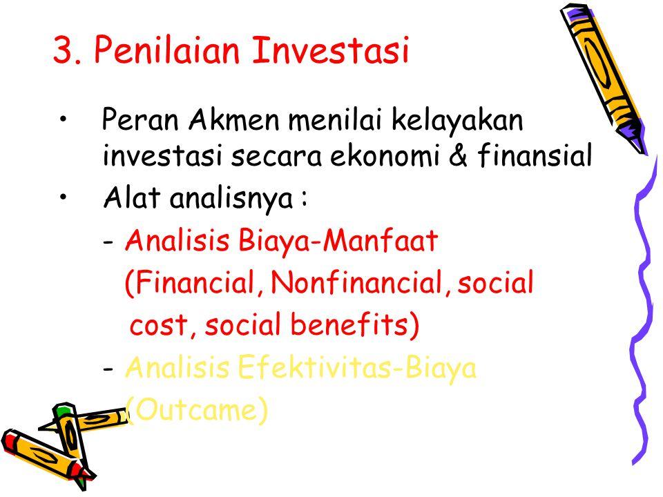 3. Penilaian Investasi Peran Akmen menilai kelayakan investasi secara ekonomi & finansial Alat analisnya : - Analisis Biaya-Manfaat (Financial, Nonfin