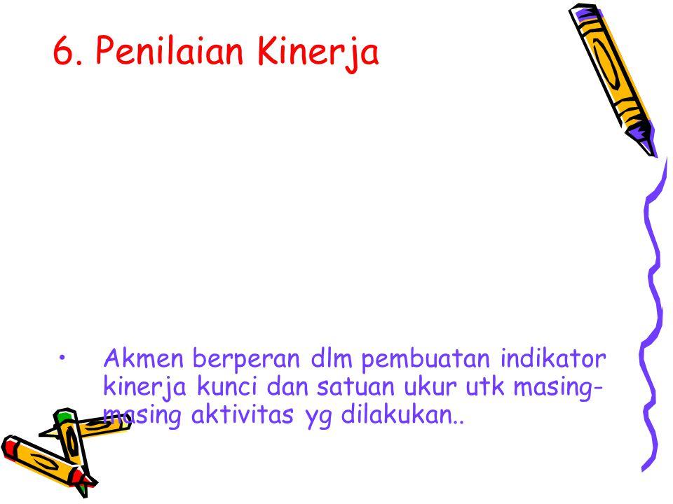 6. Penilaian Kinerja Akmen berperan dlm pembuatan indikator kinerja kunci dan satuan ukur utk masing- masing aktivitas yg dilakukan..