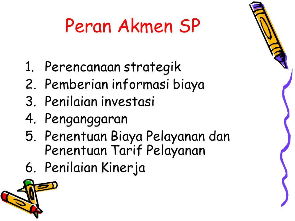 Peran Akmen SP 1.Perencanaan strategik 2.Pemberian informasi biaya 3.Penilaian investasi 4.Penganggaran 5.Penentuan Biaya Pelayanan dan Penentuan Tarif Pelayanan 6.Penilaian Kinerja