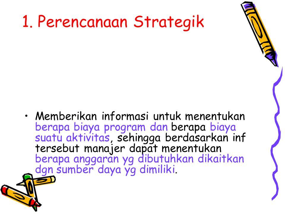 1. Perencanaan Strategik Memberikan informasi untuk menentukan berapa biaya program dan berapa biaya suatu aktivitas, sehingga berdasarkan inf tersebu