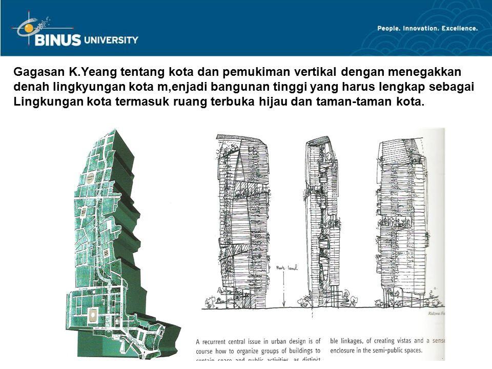 Gagasan K.Yeang tentang kota dan pemukiman vertikal dengan menegakkan denah lingkyungan kota m,enjadi bangunan tinggi yang harus lengkap sebagai Lingk
