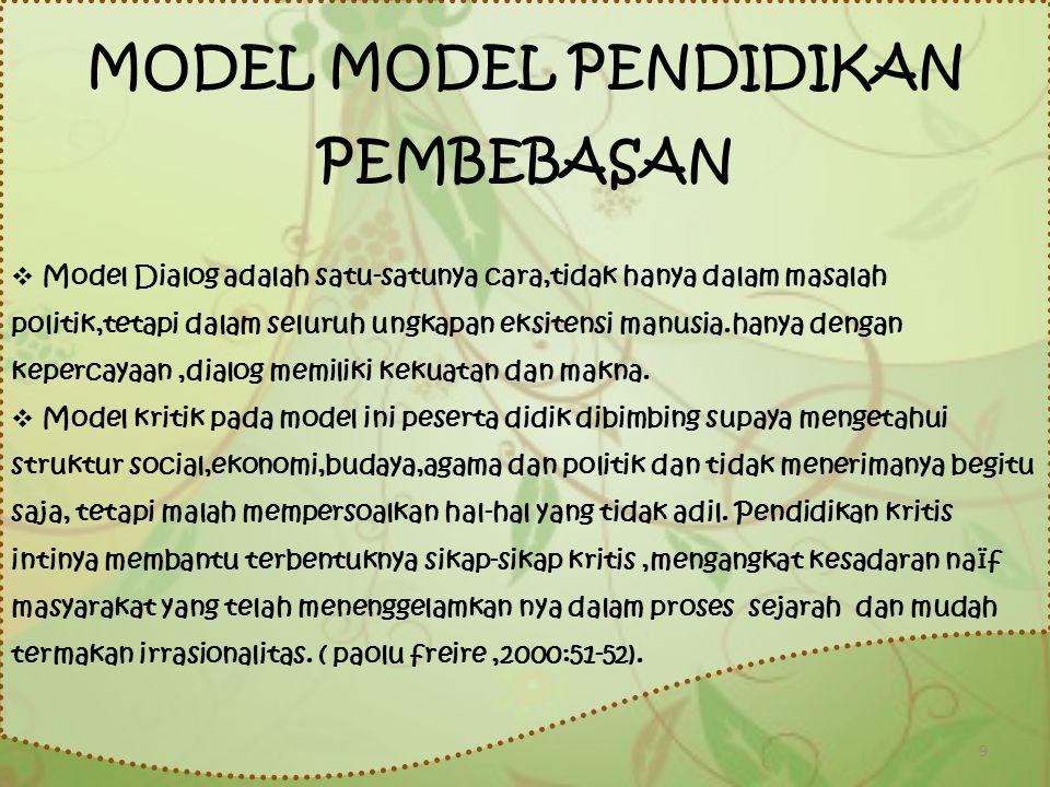 MODEL MODEL PENDIDIKAN PEMBEBASAN  Model Dialog adalah satu-satunya cara,tidak hanya dalam masalah politik,tetapi dalam seluruh ungkapan eksitensi ma
