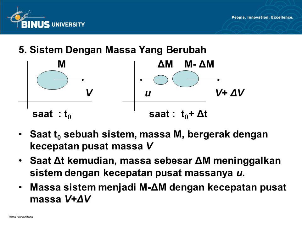 Bina Nusantara 5. Sistem Dengan Massa Yang Berubah M ΔM M- ΔM V u V+ ΔV saat : t 0 saat : t 0 + Δt Saat t 0 sebuah sistem, massa M, bergerak dengan ke