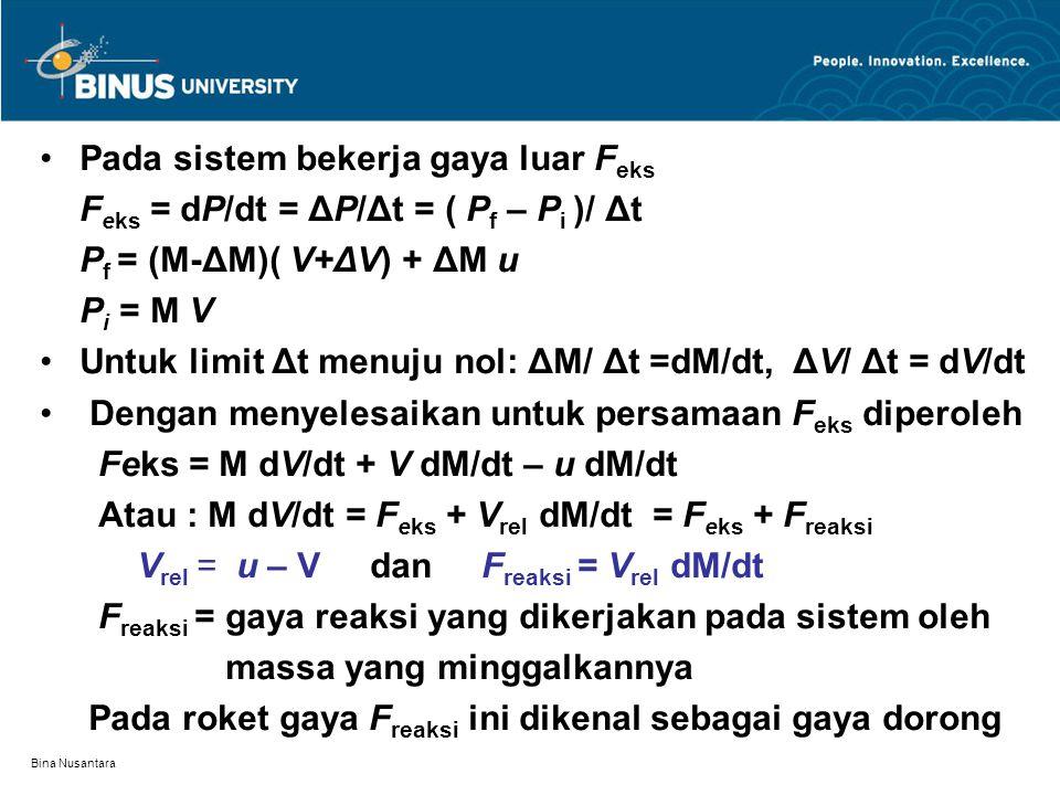 Bina Nusantara Pada sistem bekerja gaya luar F eks F eks = dP/dt = ΔP/Δt = ( P f – P i )/ Δt P f = (M-ΔM)( V+ΔV) + ΔM u P i = M V Untuk limit Δt menuj