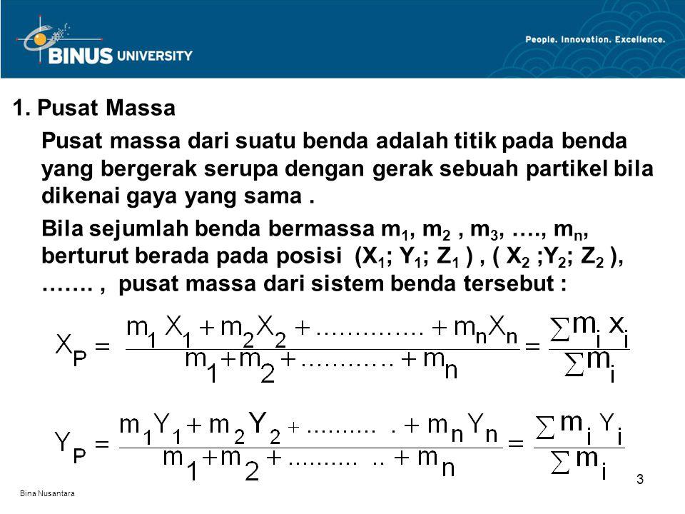 Bina Nusantara 1. Pusat Massa Pusat massa dari suatu benda adalah titik pada benda yang bergerak serupa dengan gerak sebuah partikel bila dikenai gaya
