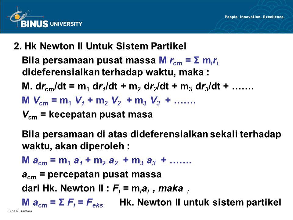 Bina Nusantara 2. Hk Newton II Untuk Sistem Partikel Bila persamaan pusat massa M r cm = Σ m i r i dideferensialkan terhadap waktu, maka : M. dr cm /d