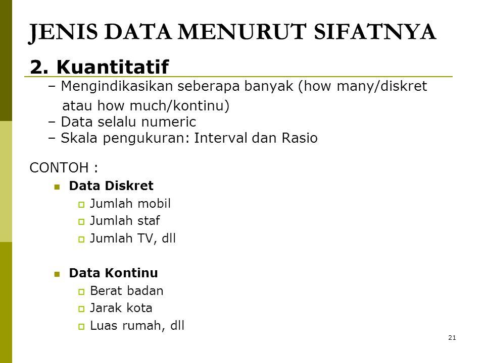 JENIS DATA MENURUT SIFATNYA 2. Kuantitatif – Mengindikasikan seberapa banyak (how many/diskret atau how much/kontinu) – Data selalu numeric – Skala pe