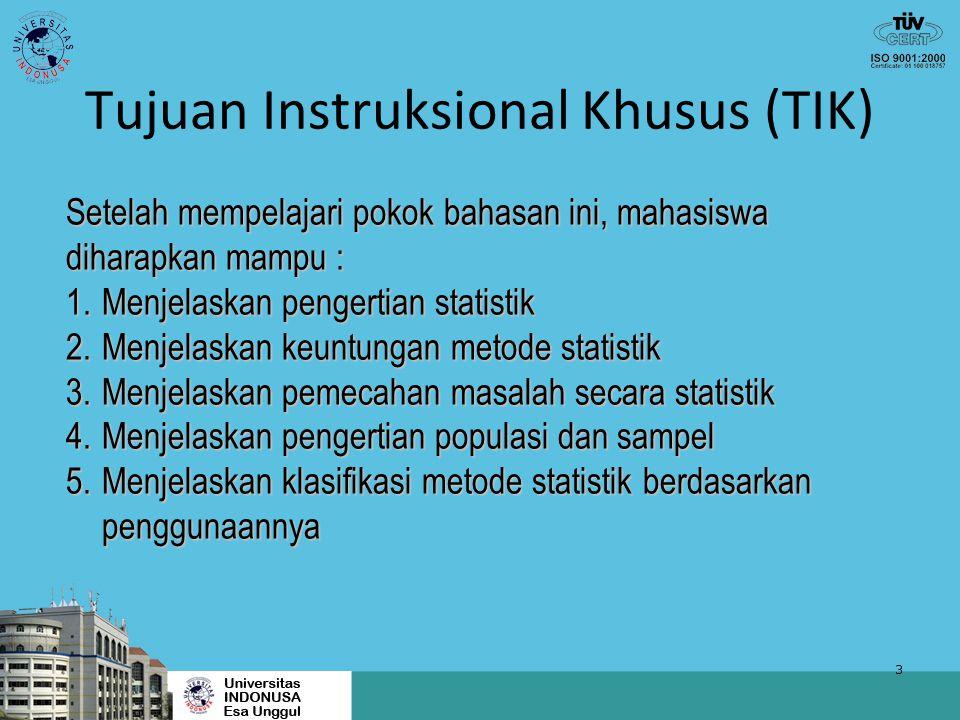 3 Tujuan Instruksional Khusus (TIK) Setelah mempelajari pokok bahasan ini, mahasiswa diharapkan mampu : 1.Menjelaskan pengertian statistik 2.Menjelask