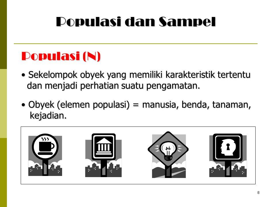 8 Populasi (N) Sekelompok obyek yang memiliki karakteristik tertentu Sekelompok obyek yang memiliki karakteristik tertentu dan menjadi perhatian suatu