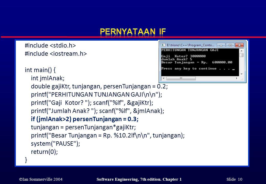 ©Ian Sommerville 2004Software Engineering, 7th edition. Chapter 1 Slide 10 #include int main() { int jmlAnak; double gajiKtr, tunjangan, persenTunjang
