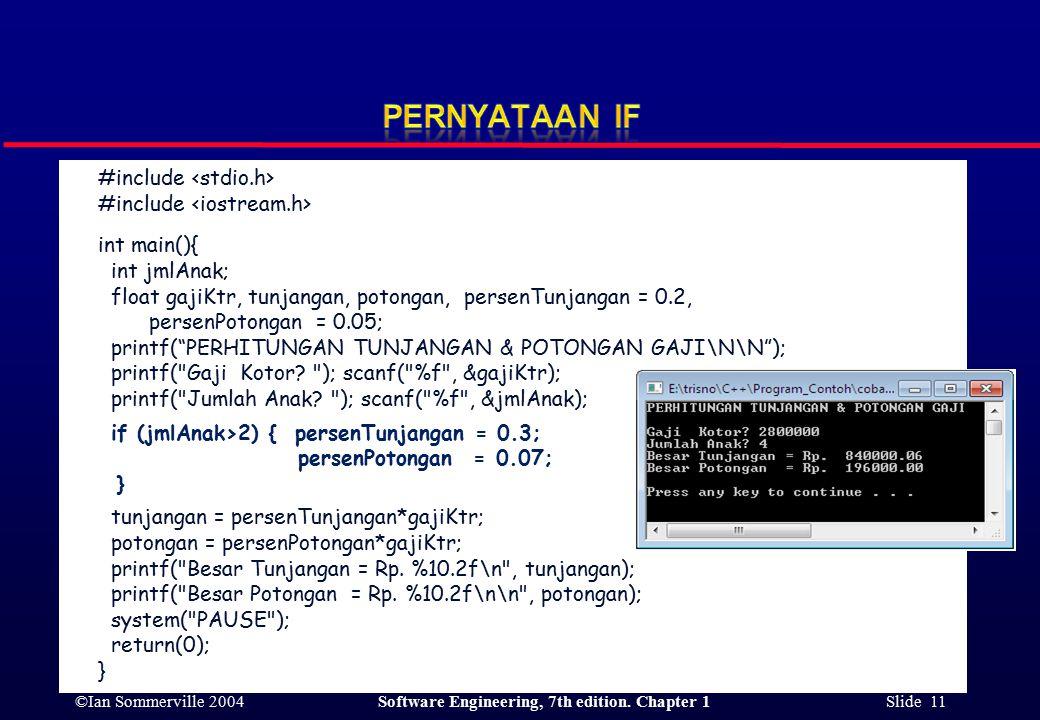 ©Ian Sommerville 2004Software Engineering, 7th edition. Chapter 1 Slide 11 #include int main(){ int jmlAnak; float gajiKtr, tunjangan, potongan, perse