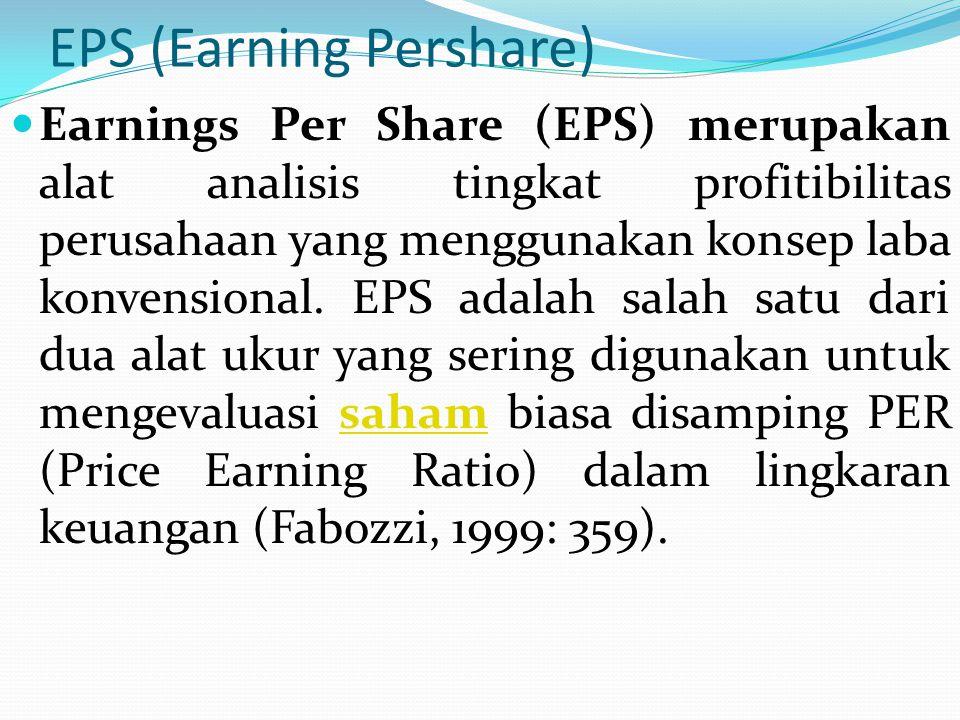 EPS (Earning Pershare) Earnings Per Share (EPS) merupakan alat analisis tingkat profitibilitas perusahaan yang menggunakan konsep laba konvensional.
