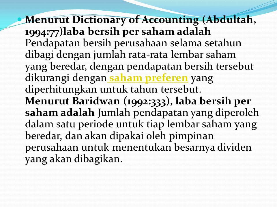 Menurut Dictionary of Accounting (Abdultah, 1994:77)laba bersih per saham adalah Pendapatan bersih perusahaan selama setahun dibagi dengan jumlah rata-rata lembar saham yang beredar, dengan pendapatan bersih tersebut dikurangi dengan saham preferen yang diperhitungkan untuk tahun tersebut.