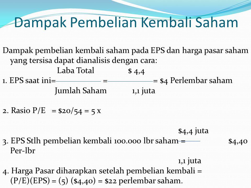 Dampak Pembelian Kembali Saham Dampak pembelian kembali saham pada EPS dan harga pasar saham yang tersisa dapat dianalisis dengan cara: Laba Total$ 4,4 1.