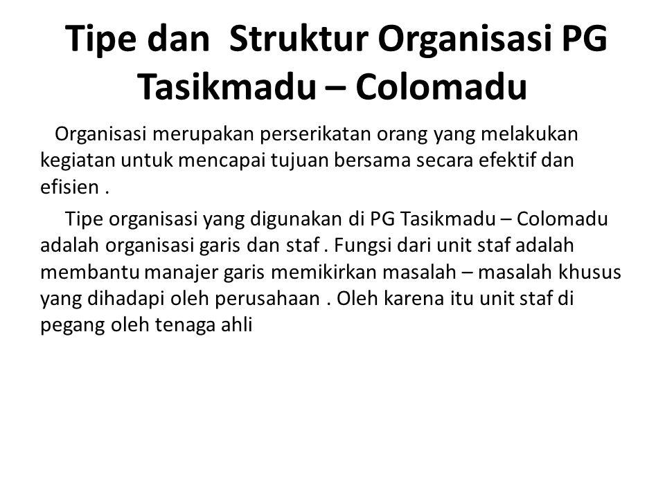 Struktut Organisasi Dalam PG Tasikmadu struktur organisasinya dipimpin oleh seorng administrator yang membawahi 4 (empat) bagian yang masing-masing dipimpin oleh seorang kepala bagian.