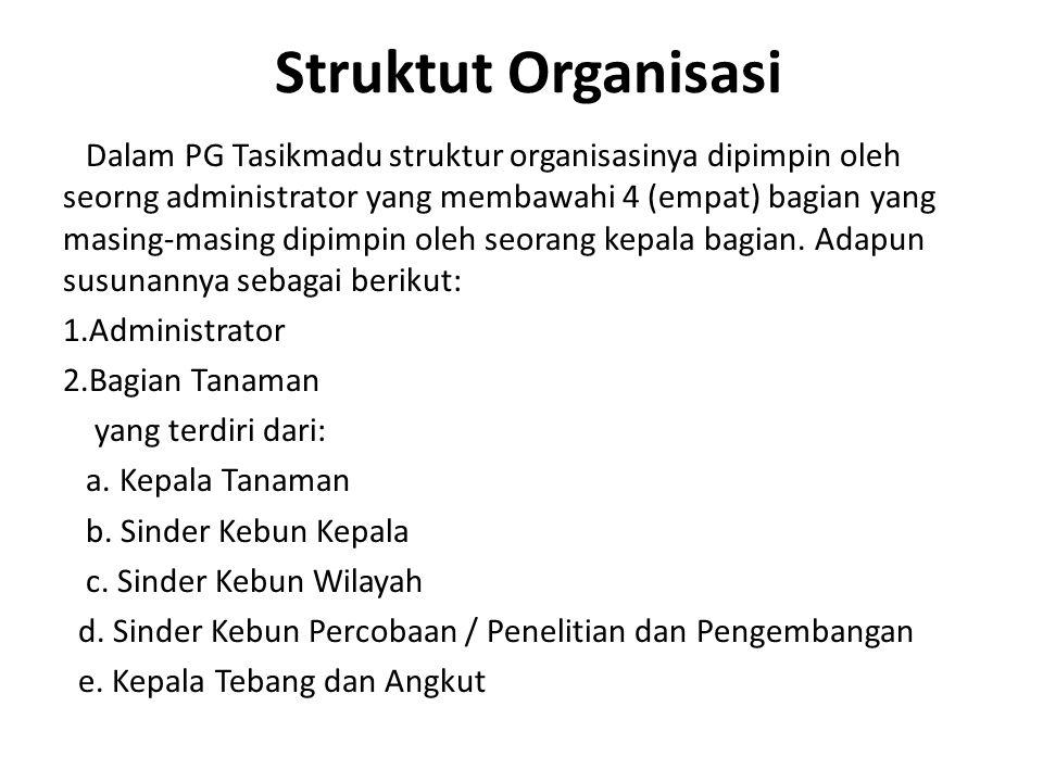 Struktut Organisasi Dalam PG Tasikmadu struktur organisasinya dipimpin oleh seorng administrator yang membawahi 4 (empat) bagian yang masing-masing di