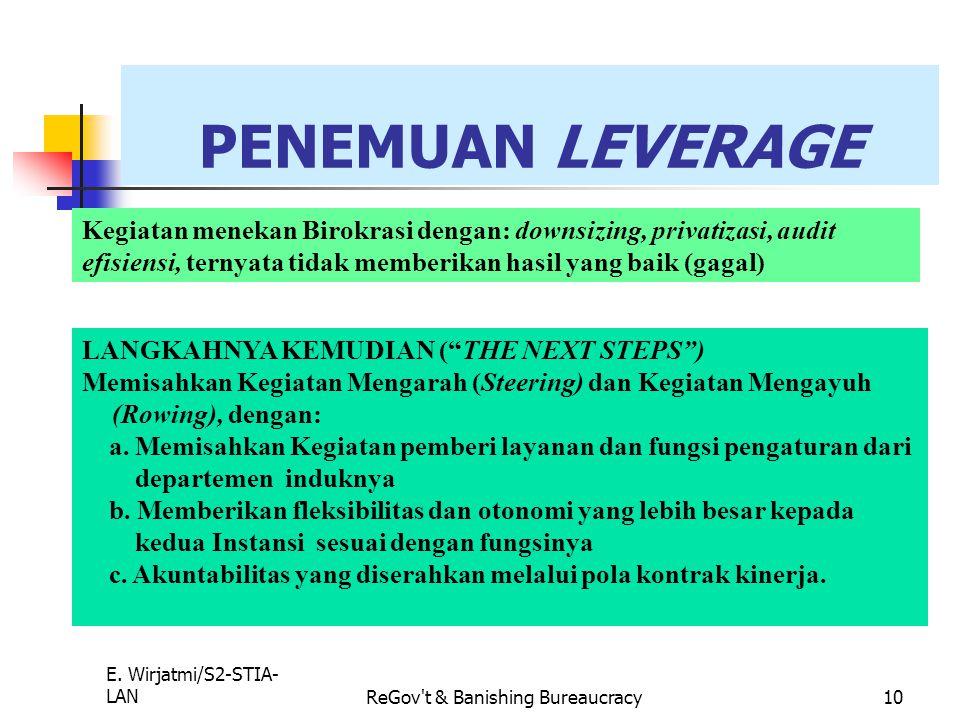 E. Wirjatmi/S2-STIA- LANReGov't & Banishing Bureaucracy9 LIMA MITOS REFORMASI SEKTOR PUBLIK 1. LIBERAL: Pemerintah dapat dibenahi dengan biaya yang be