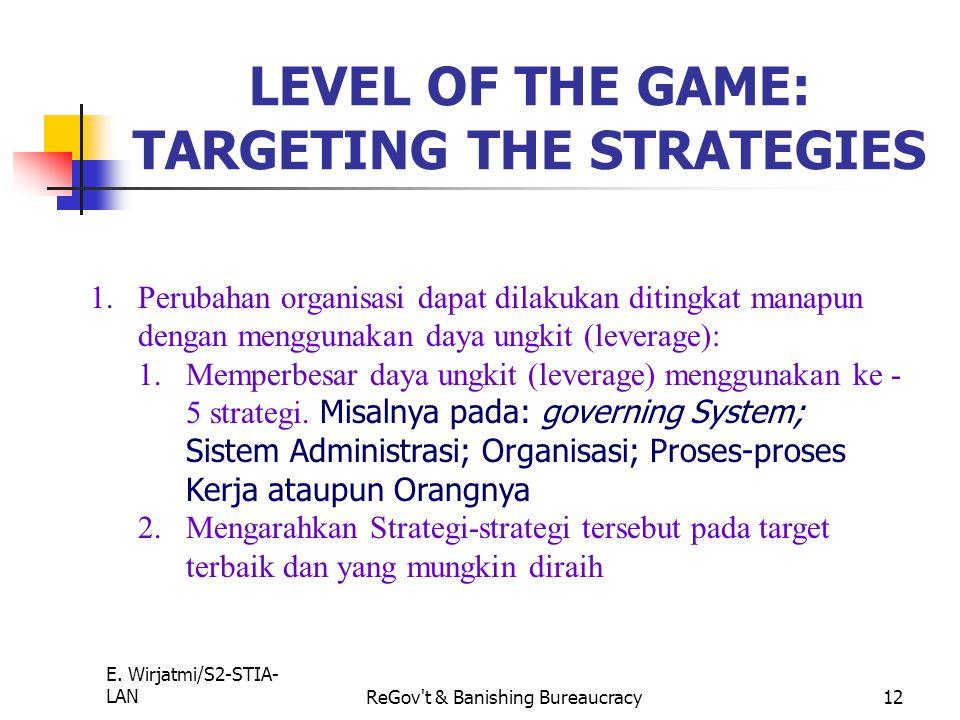 E. Wirjatmi/S2-STIA- LANReGov't & Banishing Bureaucracy11 The Five C's Lever Purpose Incentives Accountability Power Culture Strategy Core Strategy Co