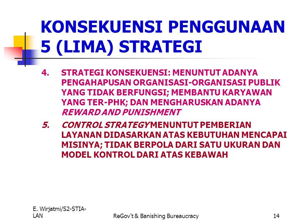 E. Wirjatmi/S2-STIA- LANReGov't & Banishing Bureaucracy13 1.REINVENSI MERUPAKAN PERUBAHAN YG BERJANGKA PANJANG, PERLU KEPEMIMPINAN, KETRAMPILAN, DEDIK