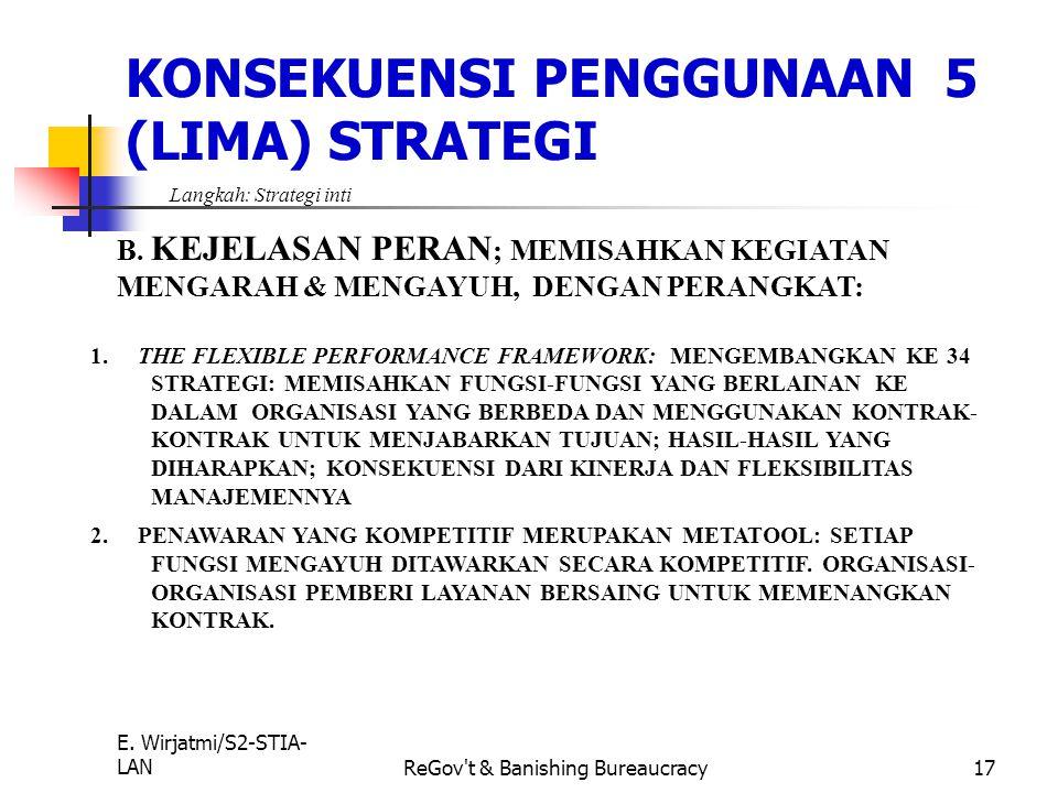 E. Wirjatmi/S2-STIA- LANReGov't & Banishing Bureaucracy16 4.STRATEGI INTI: UNTUK MENCIPTAKAN KEJELASAN TUJUAN LANGKAH YANG DILAKUKAN: A. MEMBUAT PERSI