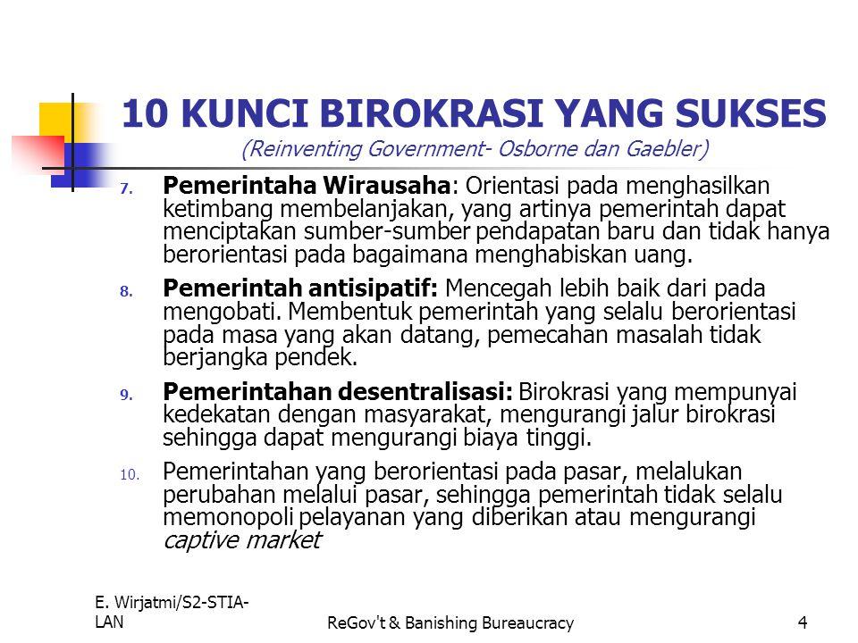 E. Wirjatmi/S2-STIA- LANReGov't & Banishing Bureaucracy3 10 KUNCI BIROKRASI YANG SUKSES ( Reinventing Government- Osborne dan Gaebler) 4. Pemerintah y